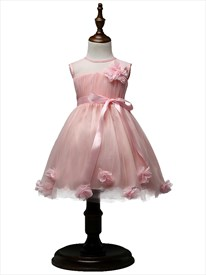 Pink Ball Gown Knee Length Flower Girl Dress With Flowers In Skirt