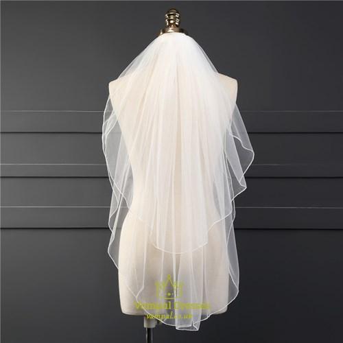 One-Tier Simple Elbow Drop Wedding Bridal Veils