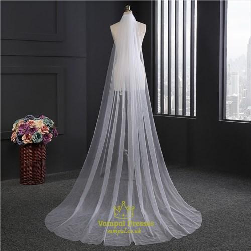 Simple One-Tier Chapel Length Drop Wedding Veils