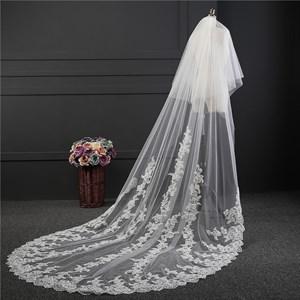 One-Tier Lace Applique Edge Drop Chapel Bridal Veils With Applique