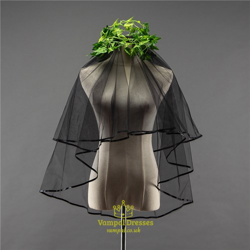Two-Tier Black Elbow Bridal Veils With Ribbon Edge