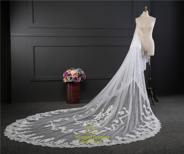 Two tier cathedral bridal veils with lace applique edge vampal