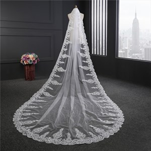 One-Tier Lace Applique Edge Cathedral Length Bridal Veils