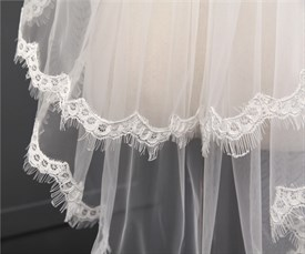 Two tier lace applique edge cathedral bridal veil with bow top
