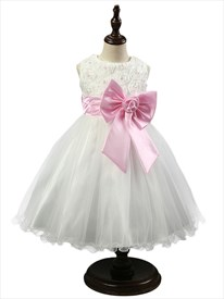 A Line Knee Length Flower Girl Dresses With Applique And Pink Bow