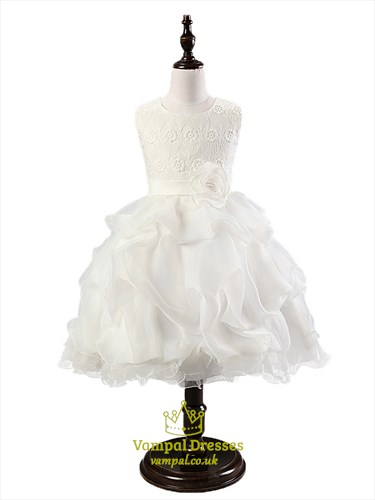 White Lace Top Ball Gown Knee Length Flower Girl Dress With Flowers