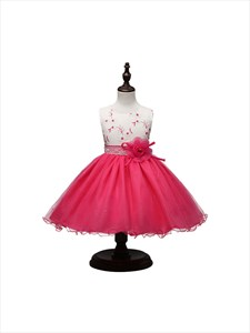 Coral Two Tone Flower Girl Dress With Flowers And Lace Embellishment