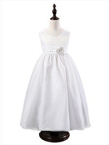 White Floor Length A Line Princess Flower Girl Dress With Bow
