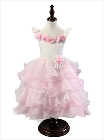 Pink Ball Gown Flower Girl Dress With Ruffled Skirt And Flowers
