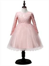 Pink A Line Princess Lace Top Flower Girl Dress With Long Sleeves