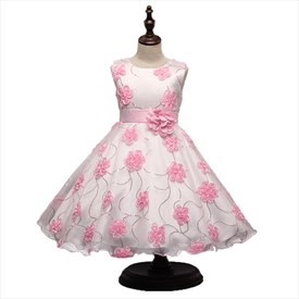 Pink A Line Princess Knee Length Flower Girl Dress With Rose Petals