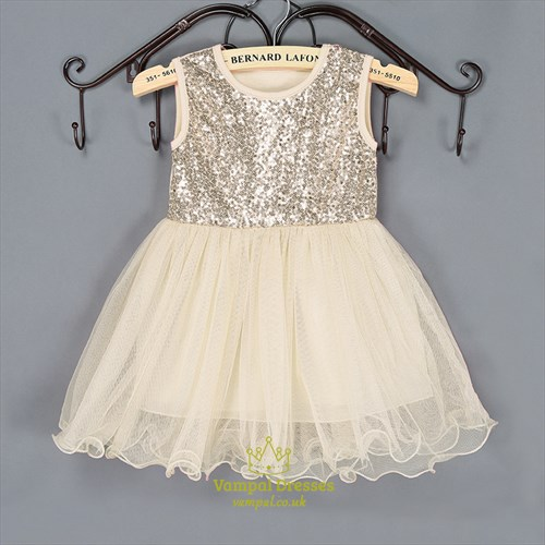 Champagne Sequin Top A Line Princess Knee Length Flower Girl Dress