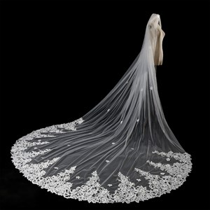 One-Tier Cathedral Bridal Veils With Satin Flower Edge