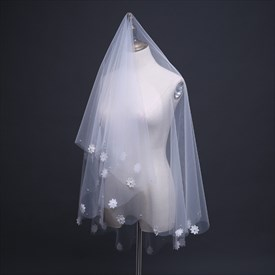 One-Tier Drop Elbow Length Wedding Veils With Embellished Edge