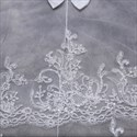 One-Tier Lace Applique Cathedral Bridal Veils With Satin Bow