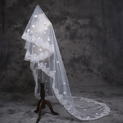 One-Tier White Lace Applique Edge Chapel Length Wedding Veils