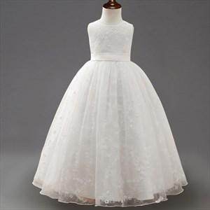 White Lace Floor Length Ball Gown Flower Girl Dresses