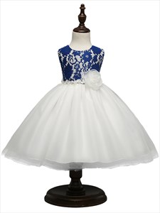 Royal Blue Two Tone Knee Length Ball Gown Flower Girl Dress With Bow