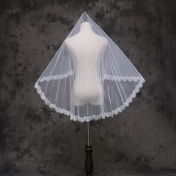 One-Tier White Lace Applique Edge Elbow Length Bridal Veils