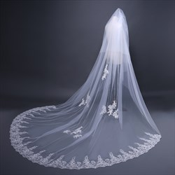 Two-Tier Cathedral Bridal Veil With Lace Applique Pearl Trim Edge