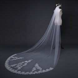 One-Tier Chapel Bridal Veils With Lace Applique Sequin Edge