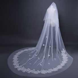 Two-Tier Cut Edge Cathedral Bridal Veil With Lace Applique