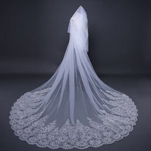 One-Tier Lace Applique Edge Cathedral Bridal Veil With Sequin