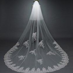 Two-Tier Applique Cathedral Bridal Veil With Lace Applique Edge