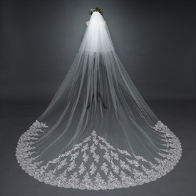 Two-Tier Cathedral Length Bridal Veil With Lace Applique Edge