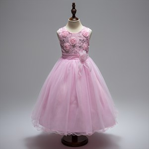 Pink Tea Length A Line Flower Girl Dresses With Flowers