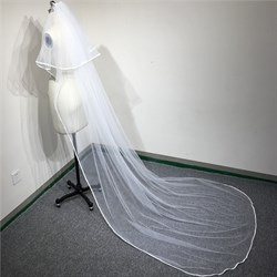 Two-Tier Simple Chapel Length Bridal Veil With Ribbon Edge