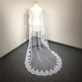 One-Tier White Chapel Length Bridal Veil With Lace Applique Edge