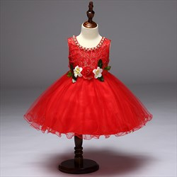 Red A Line Knee Length Flower Girl Dresses With Embroidery And Flower