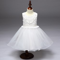 White A Line Knee Length Lace Top Flower Girl Dress With Beading