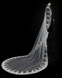 One-Tier Chapel Bridal Veil With Lace Applique Embellished Edge