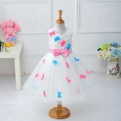 White Princess Knee Length Tulle Flower Girl Dress With Bow