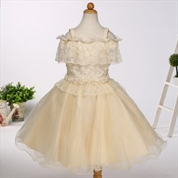 Champagne Knee Length Flower Girl Dresses With Lace Top And Straps