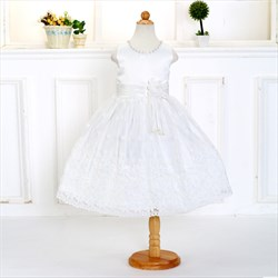 White A Line Knee Length Lace Applique Flower Girl Dress With Flowers