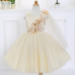 Champagne Ball Gown Knee Length Flower Girl Dress With Flowers On Top