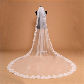 One-Tier White Cathedral Bridal Veil With Lace Applique Edge