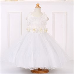 White Beaded Top Knee Length Flower Girl Dresses With Flower Petals