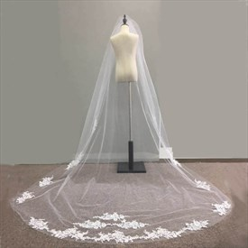 One-Tier Cathedral Bridal Veil With Lace Applique Embellished