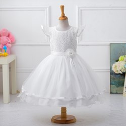 White Cap Sleeve A Line Beaded Knee Length Flower Girl Dress