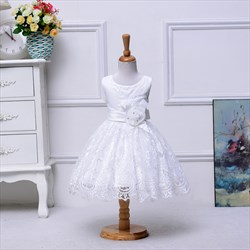 White A Line Lace Bottom Knee Length Flower Girl Dress With Flowers