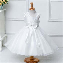 White A Line Knee Length One Shoulder Flower Girl Dresses With Bow