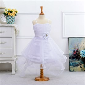 White A Line Spaghetti Straps Flower Girl Dresses With Train