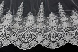 One tier chapel bridal veils with lace applique sequin edge