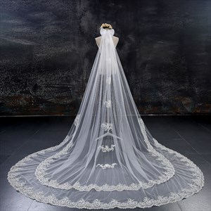 Two-Tier Lace Applique Edge Cathedral Bridal Veil With Bow Top