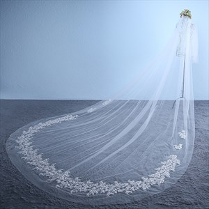 One-Tier Cut Edge Cathedral Bridal Veil With Lace Applique