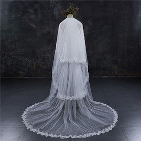 Three-Tier Chapel Length Bridal Veil With Lace Applique Edge